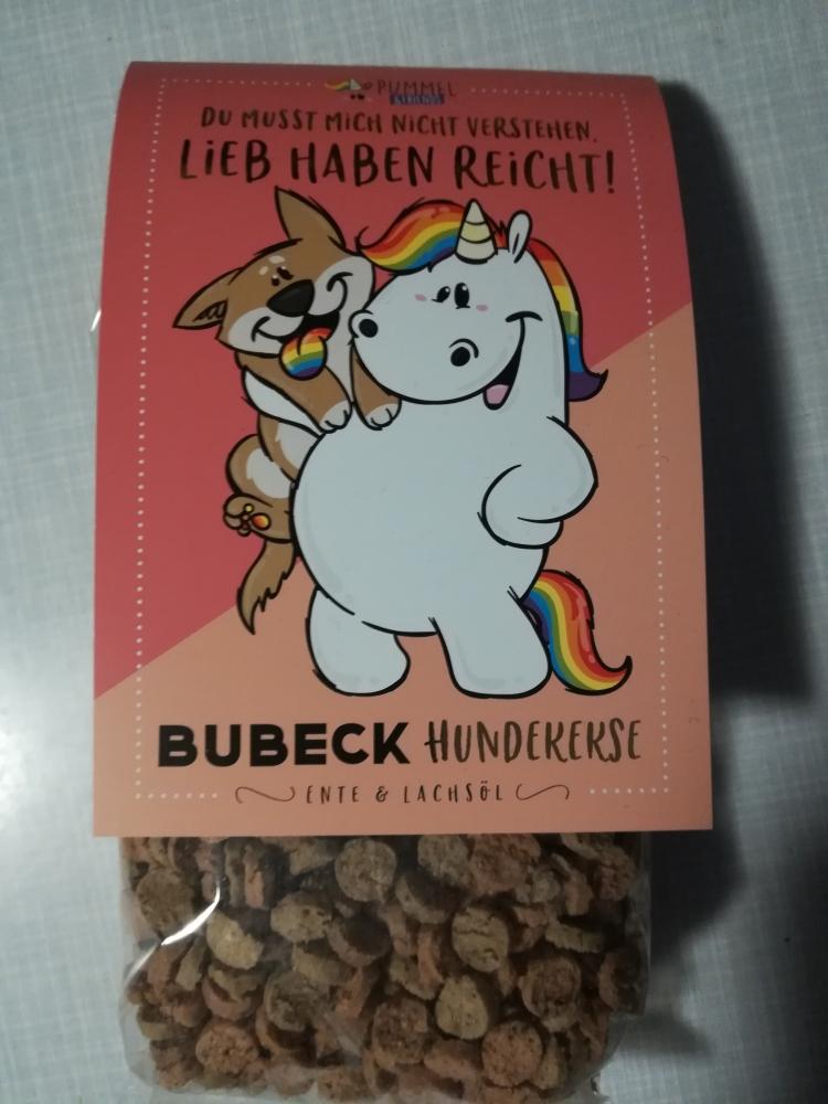 mit Ente /& Lachsöl Pummeleinhorn BUBECK Hundekekse mit Sammelmotiv